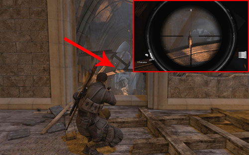 After heading into the church, head onto the upper floor with a large open area and a window and turn around - Mission 5   Wine Bottles and Gold Bars - Wine Bottles and Gold Bars - Sniper Elite V2 Game Guide & Walkthrough