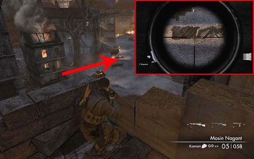 By the third vantage point, the bottle can be found right before the piece of rubble [#4] - Mission 5   Wine Bottles and Gold Bars - Wine Bottles and Gold Bars - Sniper Elite V2 Game Guide & Walkthrough