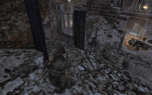 Inside the building you need to head through, go up the stairs to the very top - Mission 5   Wine Bottles and Gold Bars - Wine Bottles and Gold Bars - Sniper Elite V2 Game Guide & Walkthrough