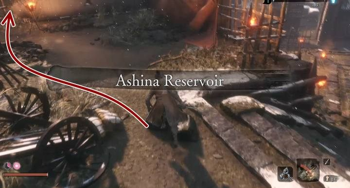 From the control point immediately turn left and jump over the abyss. - Lone Shadow Longswordsman   Sekiro Shadows Die Twice Boss Fight - Bosses - Sekiro Guide and Walkthrough