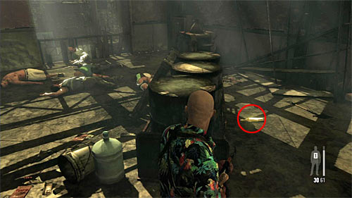 SECRET 7 [Golden Gun - SPAS-15 Shotgun 1/3]: In the first storehouse, just after you get on the balconies in its second part - Clues and Golden Guns - Chapter VII - Collectibles - Max Payne 3 - Game Guide and Walkthrough