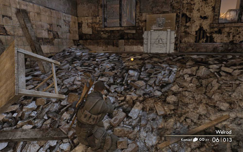 At the top of the building which you go through while passing by a tank [#3] - Mission 5   Wine Bottles and Gold Bars - Wine Bottles and Gold Bars - Sniper Elite V2 Game Guide & Walkthrough