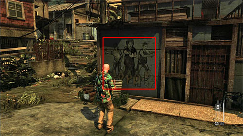 SECRET 9 [Clue 5/9 - Middle Gang Spray Tag]: On the wall, just after passing the train station and entering territory of the new gang - Clues and Golden Guns - Chapter VII - Collectibles - Max Payne 3 - Game Guide and Walkthrough