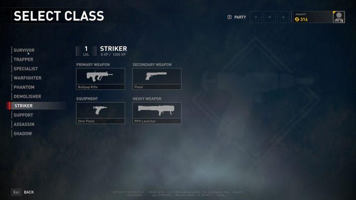 The Striker class selection screen. - Player vs Player World War Z - character classes - Player vs Player mode - World War Z Guide