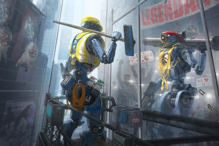 Concept art of Pathfinder character in the video game Apex Legends.