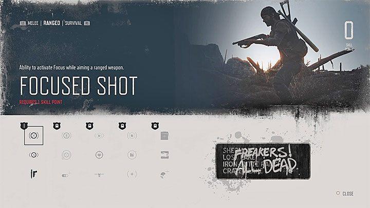 Сфокусированный выстрел [уровень 1] - Позволяет использовать фокус при наведении на оружие дальнего боя - Навыки в прошедшие дни - Развитие персонажа - Дни пропавших без вести