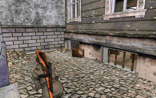 After you jump through the window at the back of the building, head right - Mission 1   Wine Bottles and Gold Bars - Wine Bottles and Gold Bars - Sniper Elite V2 Game Guide & Walkthrough