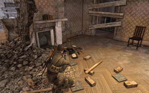 Inside one of the rooms [#6] of the main building which you need to pass through to reach the church - Mission 5   Wine Bottles and Gold Bars - Wine Bottles and Gold Bars - Sniper Elite V2 Game Guide & Walkthrough