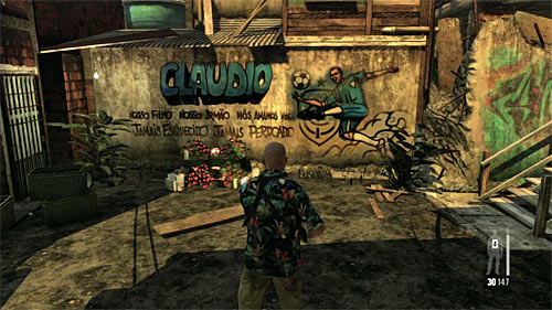 SECRET 11 [Clue 6/9 - Shrine to Claudio]: On the small square just after entering territory of the new gang and before the battle - Clues and Golden Guns - Chapter VII - Collectibles - Max Payne 3 - Game Guide and Walkthrough