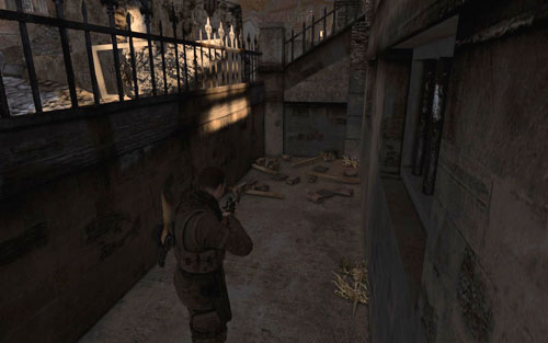 In front of the building, in a narrow passage [#7] - Mission 5   Wine Bottles and Gold Bars - Wine Bottles and Gold Bars - Sniper Elite V2 Game Guide & Walkthrough