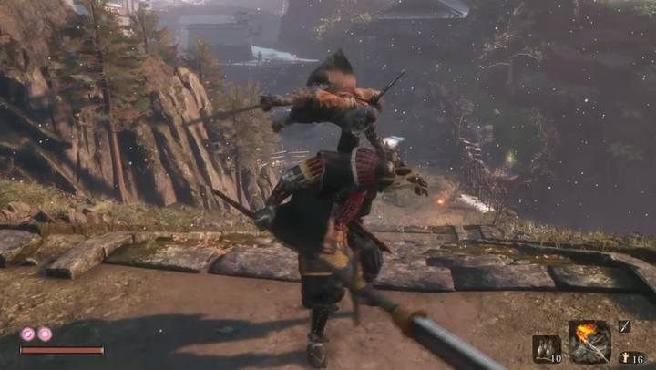 Attacking from behind will reduce one health bar. - Seven Ashina Spears   Sekiro Shadows Die Twice Boss Fight - Bosses - Sekiro Guide and Walkthrough