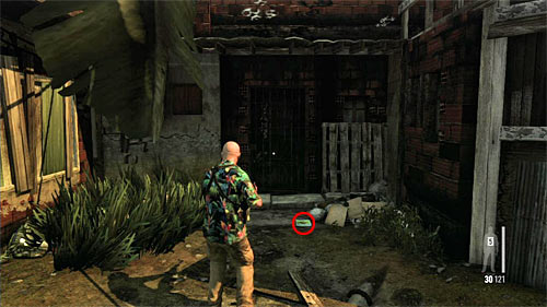 SECRET 12 [Clue 7/9 - Flyer of Giovanna]: On the ground, during moving along the narrow and short path between buildings - Clues and Golden Guns - Chapter VII - Collectibles - Max Payne 3 - Game Guide and Walkthrough