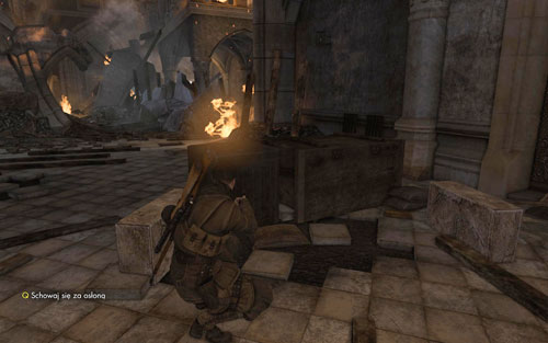 At the end of churchs ground floor, behind a crate [#8] - Mission 5   Wine Bottles and Gold Bars - Wine Bottles and Gold Bars - Sniper Elite V2 Game Guide & Walkthrough