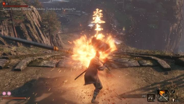 An effective method of combat is the use of oil and Flame Vent - Seven Ashina Spears   Sekiro Shadows Die Twice Boss Fight - Bosses - Sekiro Guide and Walkthrough
