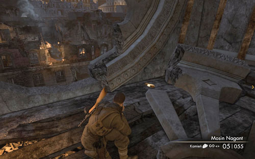 At the upper level, where you find a large hole in the wall (where a window was before), the gold is right beside it [#9] - Mission 5   Wine Bottles and Gold Bars - Wine Bottles and Gold Bars - Sniper Elite V2 Game Guide & Walkthrough