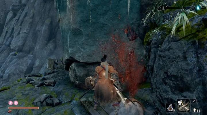 After killing the little ogre on your way, climb on a stone shelf, after a while, and use the rope oo the trees to get to the bridge - Armored Warrior   Sekiro Shadows Die Twice Boss Fight - Bosses - Sekiro Guide and Walkthrough