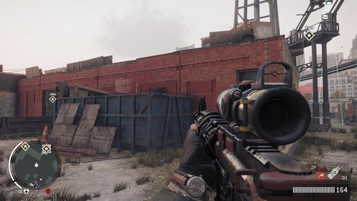 Once you arrive, move to the back of the scanner, where you will see a blue container pressed against the wall of the red building (you can see it on the screenshot) - Holloway - Red zone | Key Points - Key Points - Homefront: The Revolution Game Guide & Walkthrough