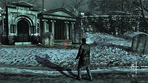SECRET 1 [Golden Gun - Auto 9mm 1/3]: In the second part of the graveyard, by the crypt located on the left from the stairs leading to the enemy with the grenade launcher - Clues and Golden Guns - Chapter VIII - Collectibles - Max Payne 3 - Game Guide and Walkthrough