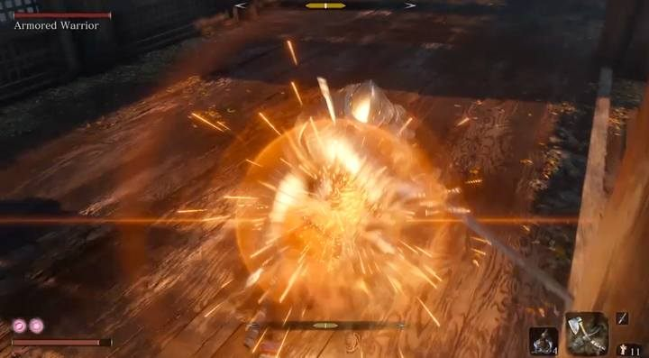 The perfect block reduces the posture of the enemy, not yours. - Armored Warrior   Sekiro Shadows Die Twice Boss Fight - Bosses - Sekiro Guide and Walkthrough