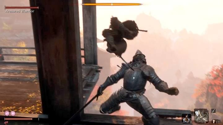 The critical strike is possible when the opponents posture bar is filled and you see a red dot on his body - Armored Warrior   Sekiro Shadows Die Twice Boss Fight - Bosses - Sekiro Guide and Walkthrough