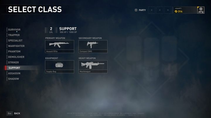 The Support class selection screen. - Player vs Player World War Z - character classes - Player vs Player mode - World War Z Guide