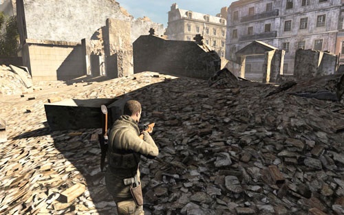 In the back of the ruins [#4] which you will pass by while avoiding the patrols - Mission 1   Wine Bottles and Gold Bars - Wine Bottles and Gold Bars - Sniper Elite V2 Game Guide & Walkthrough