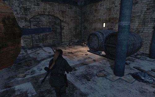 From the square, head into the open space below the building - the gold is in the corner [#2] - Mission 6   Wine Bottles and Gold Bars - Wine Bottles and Gold Bars - Sniper Elite V2 Game Guide & Walkthrough