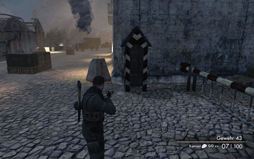 To the right of the main entrance to the flak tower, theres a guard booth [#4] and beside it the gold - Mission 6   Wine Bottles and Gold Bars - Wine Bottles and Gold Bars - Sniper Elite V2 Game Guide & Walkthrough