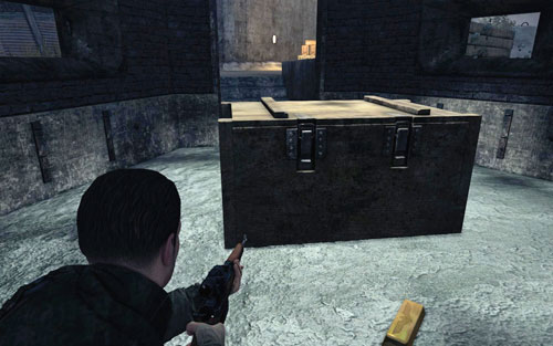To the left of the main entrance to the tower theres a small bunker [#5] and behind the crate inside, the gold - Mission 6   Wine Bottles and Gold Bars - Wine Bottles and Gold Bars - Sniper Elite V2 Game Guide & Walkthrough