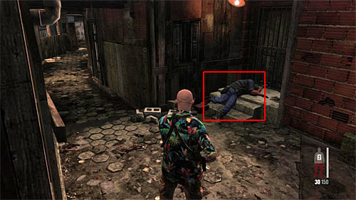 SECRET 3 [Clue 2/3 - Dead UFE Member]: During the exploration of long, narrow alley - Clues and Golden Guns - Chapter IX - Collectibles - Max Payne 3 - Game Guide and Walkthrough