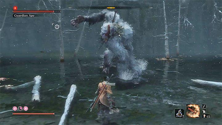 На первом этапе Guardian Ape - враг типа зверя - Guardian Ape в Затонувшей долине   Sekiro Shadows Die Twice Boss Fight - Боссы - Руководство по Sekiro и прохождение игры