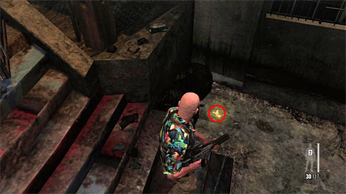 SECRET 5 [Golden Gun - M972 SMG 2/3]: By the long stairs leading to the lower level of slums - Clues and Golden Guns - Chapter IX - Collectibles - Max Payne 3 - Game Guide and Walkthrough