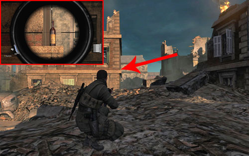 On the ledge [#1] right after getting to the first intersection and killing two soldiers - Mission 7   Wine Bottles and Gold Bars - Wine Bottles and Gold Bars - Sniper Elite V2 Game Guide & Walkthrough