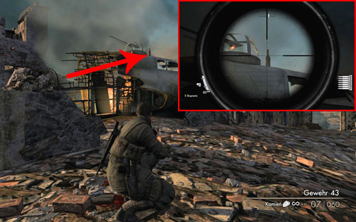 On the front part of the plane wreck [#2] - Mission 7   Wine Bottles and Gold Bars - Wine Bottles and Gold Bars - Sniper Elite V2 Game Guide & Walkthrough