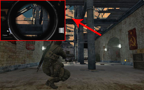 Inside the corridor on the way to the officer, on top of an reinforcement [#4] above you - Mission 7   Wine Bottles and Gold Bars - Wine Bottles and Gold Bars - Sniper Elite V2 Game Guide & Walkthrough