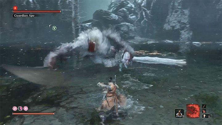 Второй этап начинается через несколько секунд после первого - Guardian Ape в Затонувшей долине   Sekiro Shadows Die Twice Boss Fight - Боссы - Руководство по Sekiro и прохождение игры