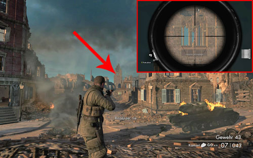 On the tower in which the last sniper is, inside one of the windows [#5] - Mission 7   Wine Bottles and Gold Bars - Wine Bottles and Gold Bars - Sniper Elite V2 Game Guide & Walkthrough