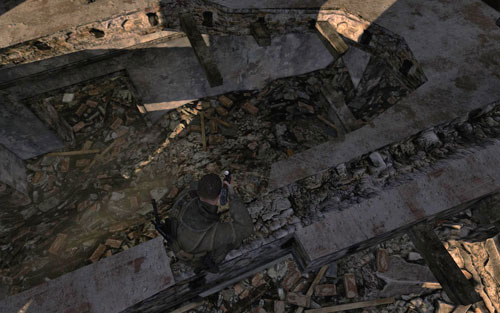 Inside one of the ruins you pass by at the beginning [#1] - you need to jump over the wall, the gold is on the floor - Mission 7   Wine Bottles and Gold Bars - Wine Bottles and Gold Bars - Sniper Elite V2 Game Guide & Walkthrough