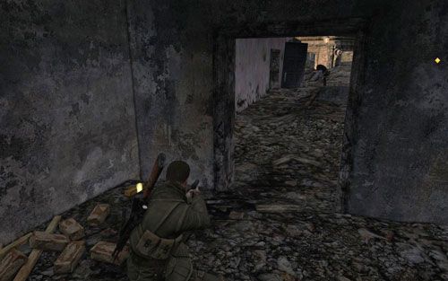 In the dead end [#2], right beside the first intersection - Mission 7   Wine Bottles and Gold Bars - Wine Bottles and Gold Bars - Sniper Elite V2 Game Guide & Walkthrough