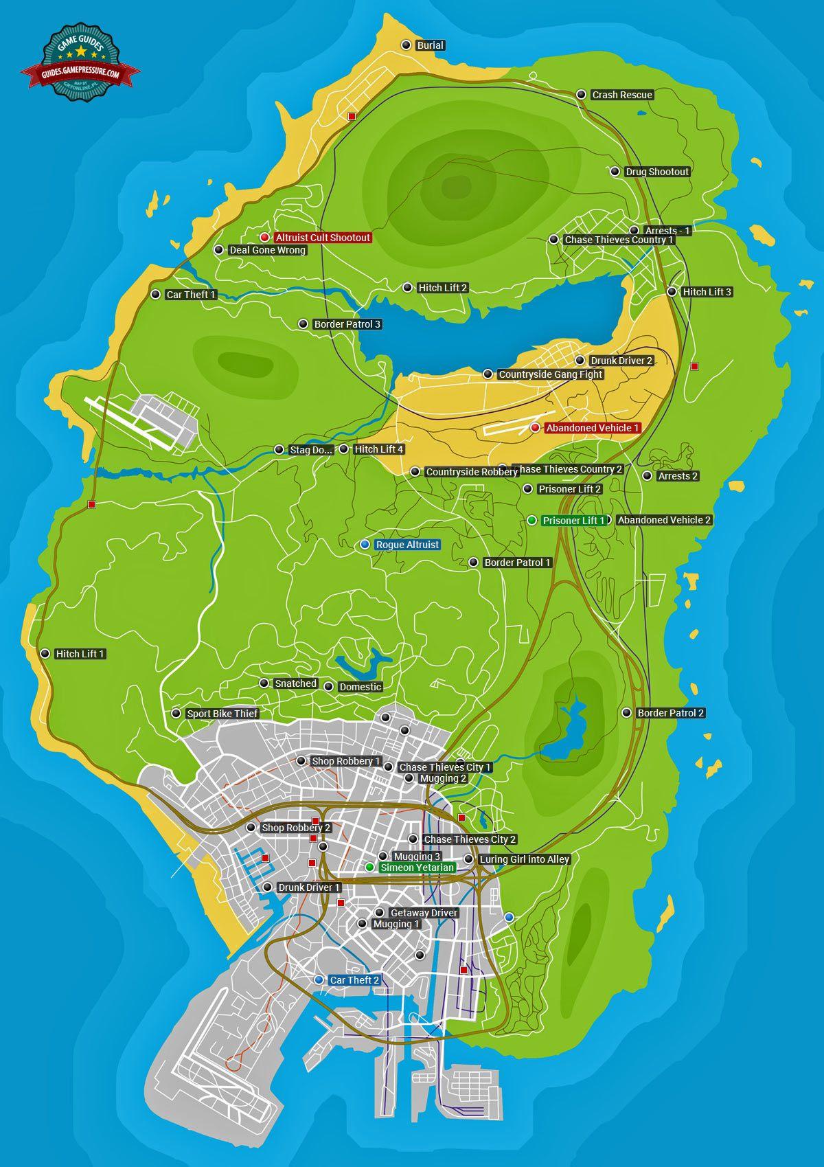 GTA V Map - Random events