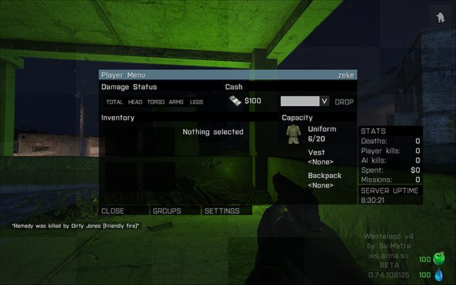 Player menu in Wasteland - Wasteland - Multiplayer servers - Arma III - Game Guide and Walkthrough