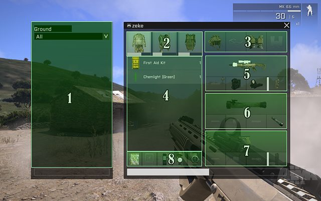 1: this part of the inventory shows what's on the ground, next to the player - Interface - Gameplay Basics - Arma III - Beta - Game Guide and Walkthrough