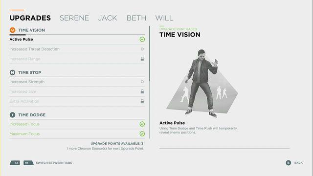 Ability upgrade screen. - Comparison of skills and upgrades - Skills - Quantum Break - Game Guide and Walkthrough
