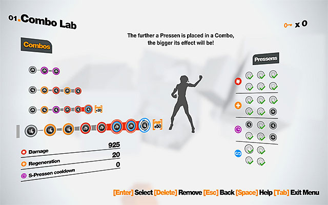The above screenshot presents example combos that were used for the purposes of this walkthrough - Examples of combos - Combos - Remember Me - Game Guide and Walkthrough