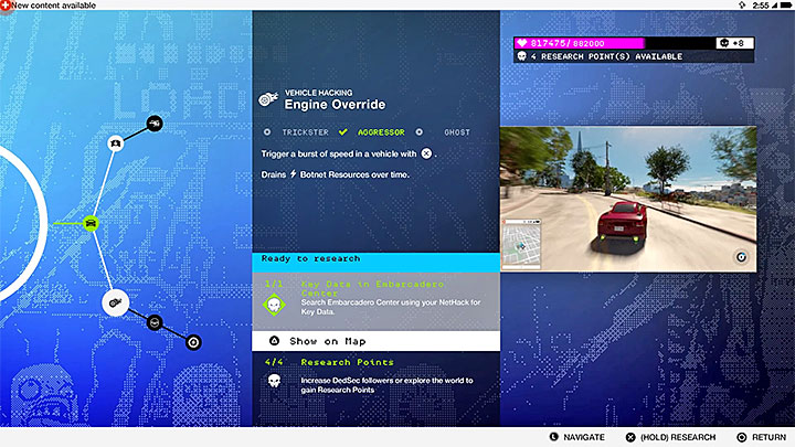 Advanced skills require having both research points AND Key Data - Best Skills - unlocking and recommendations - The Basics - Watch Dogs 2 Game Guide