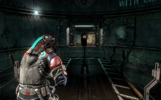 After riding the elevator down, youll walk through the first corridor, getting rid of Necromorph who will appear here, until you get to the silo with a moving catwalk - Investigate Carvers vision   Co-op missions: Marker Containment - Co-op missions: Marker Containment - Dead Space 3 Game Guide