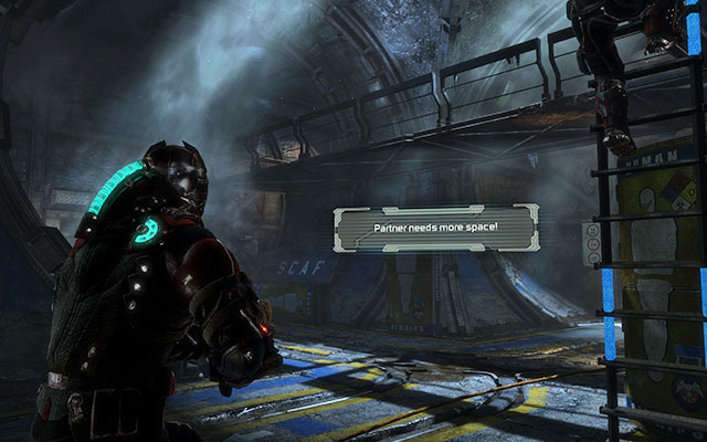 After riding down the elevator to the proper part of the facility, climb down the ladder - Investigate the warehouses secrets | Co-op missions: Archeology - Co-op missions: Archeology - Dead Space 3 Game Guide