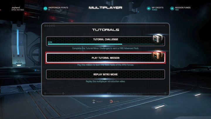 The APEX tutorial mission selection screen. - How to unlock the APEX trophy in Mass Effect: Andromeda? - Achievements / Trophies - Mass Effect: Andromeda Game Guide