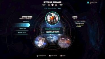 Экран назначения ударной команды.  - ударные команды |  Основы игрового процесса - Основы игрового процесса - Mass Effect: Руководство по игре Andromeda
