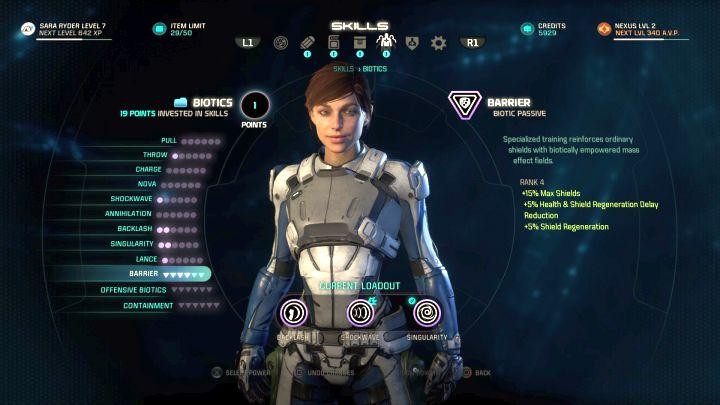 Главный герой развития экрана.  - Развитие персонажа в Mass Effect: Andromeda - Персонаж - Mass Effect: Руководство по игре Andromeda